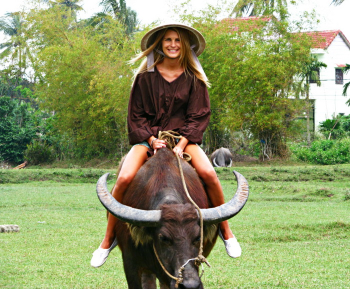 A foreign visitors is riding a buffalo around Tra Que vegetable village, Quang Nam province - Photo: caitlyndebeer