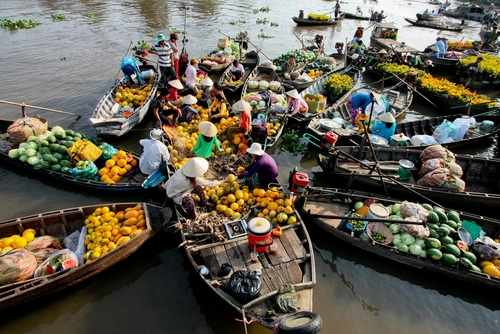Cai Rang Floating Market, Can Tho Province, Mekong Delta (Western Region of Vietnam) is a special tourist attraction of Can Tho Province - Photo: Internet