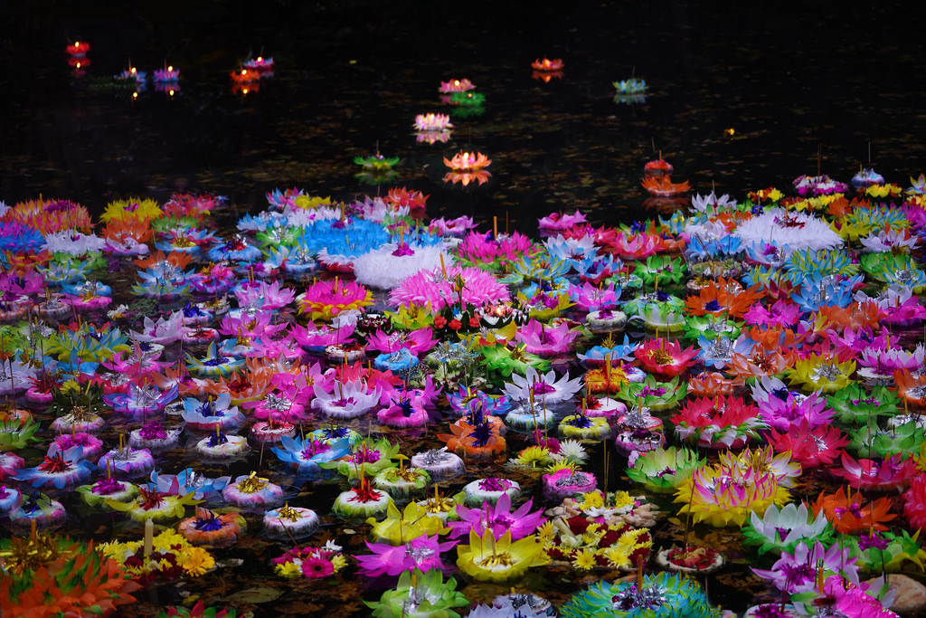 Floating colorful lanterns on water - Photo: gian_tg