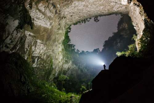 Sunshine through a section of Son Doong Cave at around noon