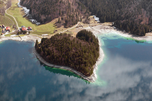 In Bavarian Alps, a heart-shaped island is situated in the beautiful Walchensee lake, Germany