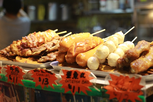Grilled skewers are sold all over the city