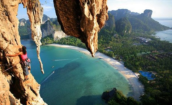 Climbing limestone cliffs is one of the most popular games in Krabi