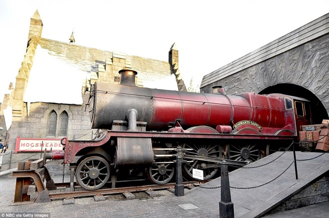 The famous Hogwarts train is on display for visitors to take pictures
