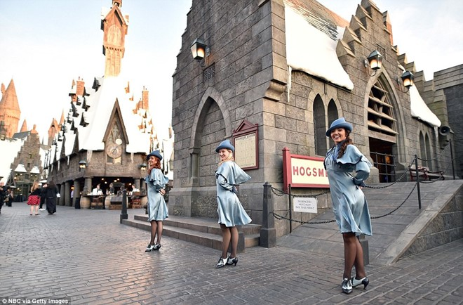 The staff plays Beauxbaton school students attending a trial opening of Harry Potter World at Universal Studios Hollywood on April 5th