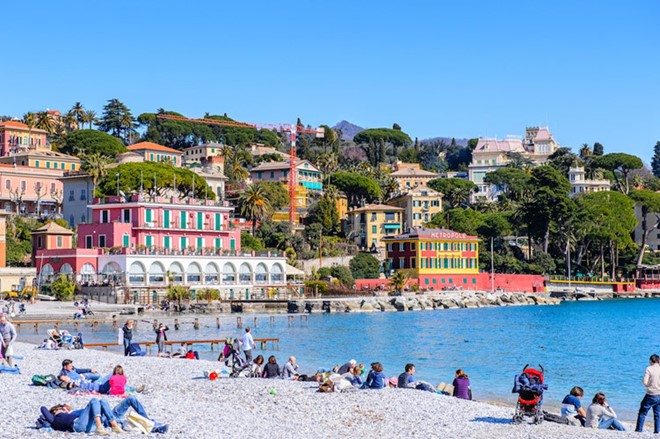 Santa Margherita Ligure, Italy: is an idyllic resort town in the Riviera, Ital, where tourists visited during the summer, to enjoy the feeling of lounging and sunbathing on the beach.