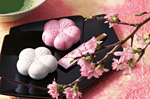 These wagashi cakes are very eye-catching and have a sweet taste